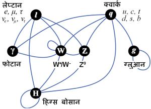 मानक प्रतिकृति के कणो की पारस्परिक क्रिया का संक्षेप
