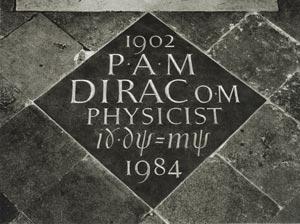 लंदन के शाही चर्च वेस्टमीनीस्टर एब्बी मे पाल डीरेक का समीकरण