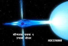 सीगनस एक्स 1: दृश्य प्रकाश मे ऐसे दिखेगा। यह श्याम वीवर अपने साथी तारे का द्रव्यमान खिंच रहा है, जिससे एक्रीशन डिस्क बन रही है। इस डिस्क की गैस गर्म हो एक्स रे उत्सर्जित कर रही है।