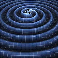दो श्याम विवर टकराने पर विशाल गुरुत्विय तरंग उत्पन्न करेंगे।
