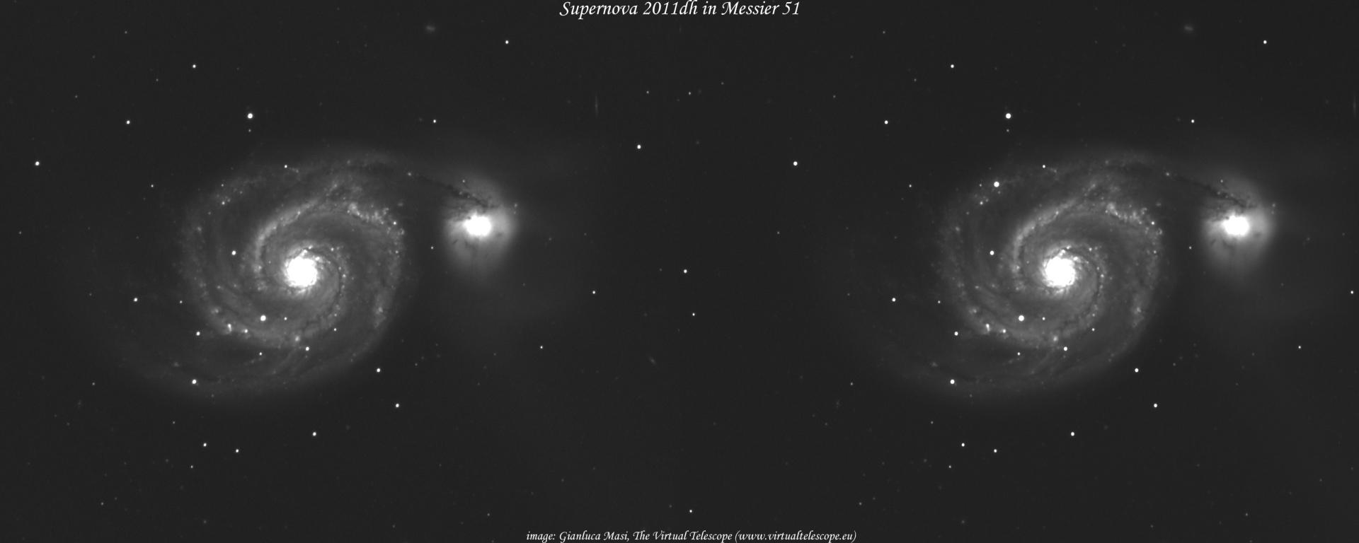 2010 के सुपरनोवा विस्फोट के बाद की तस्वीर(नासा द्वारा तैयार कीया गया मिश्रित चित्र)
