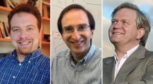 2012 के भौतिकी नोबेल पुरस्कार विजेता : एडम रीस(Adam G. Riess), साउल पर्लमटर(Saul Perlmutter) तथा ब्रायन स्कमिड्ट( Brian P. Schmidt)