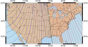 अगोनीक रेखा (काली) तथा आइसोगोनीक रेखायें(अन्य)