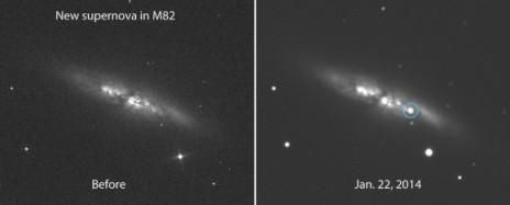 M82 आकाशगंगा की सुपरनोवा विस्फोट से पहले और पश्चात के चित्र, इसकी दीप्ति 11.7 है। यह सुपरनोवा आकाशगंगा के प्रतल मे उसके केंद्र से 54″ पश्चिम तथा 21″ दक्षिण है।