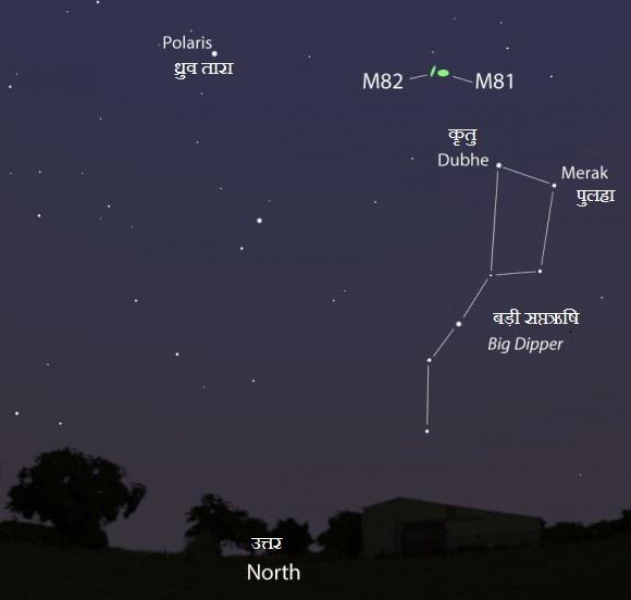M82 खोजने के लिये मानचित्र