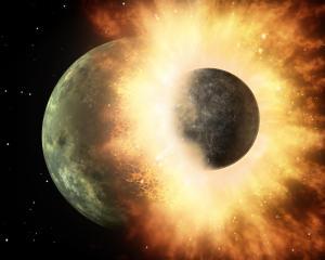 'थिया' ग्रह की पृथ्वी से टक्कर से चंद्रमा की उत्पत्ति की संभावना है।'थिया' ग्रह की पृथ्वी से टक्कर से चंद्रमा की उत्पत्ति की संभावना है।
