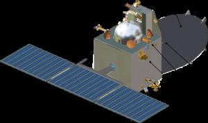 मंगलयान का योजनामूलक चित्र : A सौर पैनेल, B नोदक टंकी (प्रोपेलेण्ट टैंक), C माध्य एण्टेना लब्धि (गेन), D अधिकतम एण्टेना लब्धि, E कैमरा MCC, F फोटोमीटर लीमान अल्फा LAP, G मेंका (Menca) द्रव्यमान स्पेक्ट्रममापी, H अल्प लब्धि एण्टेना । चित्र में अदृष्य उपकरण : MSN और TIS आदि