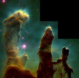 हबल दूरबीन द्वारा लिया गया सबसे प्रसिद्ध चित्र, उद्भव के स्तंभ(