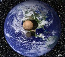 पृथ्वी से थोड़ा ऊपर यदि प्लूटो और उसके चांद को रखा जाए तो कुछ इतना होगा इनका आकार