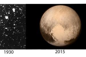 प्लूटो खोज के समय 1930 और न्यु हारीजोंस द्वारा लिया चित्र 2015