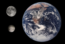 प्लूटो नीचे दायें चंद्रमा और पृथ्वी की तुलना मे