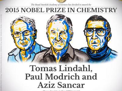2015 रसायन शास्त्र का नोबेल पुरस्कार टामस लिंडल(Tomas Lindahl), पाल माडरीच(Paul L. Modrich) तथा अजीज संकार(Aziz Sancar) को दिया गया है।