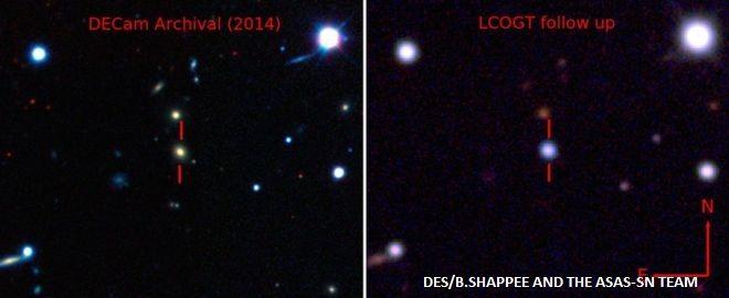 पहले और बाद: यह सुपरनोवा अब तक रिकॉर्ड हुए सबसे चमकदार सुपरनोवा से दोगुना ज़्यादा चमकदार है।