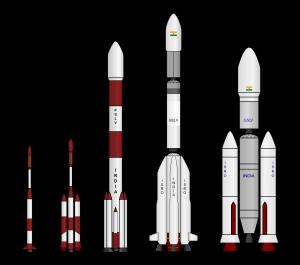 भारत के वाहक-राकेट : बायें से दायें - एसएलवी, एएसएलवी, पीएसएलवी, जीएसएलवी, जीएसएलवी मार्क III