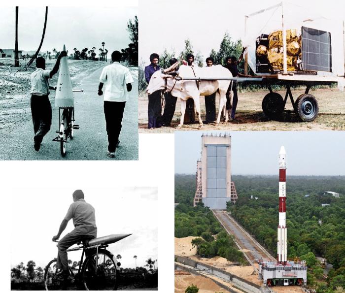 कल : साइकल पर राकेट लेजाते इसरो के वैज्ञानिक, बैलगाड़ी पर एप्पल उपग्रह ढोते इसरो के वैज्ञानिक आज : इसरो का राकेट लेजाने वाला वाहन PSLV के साथ