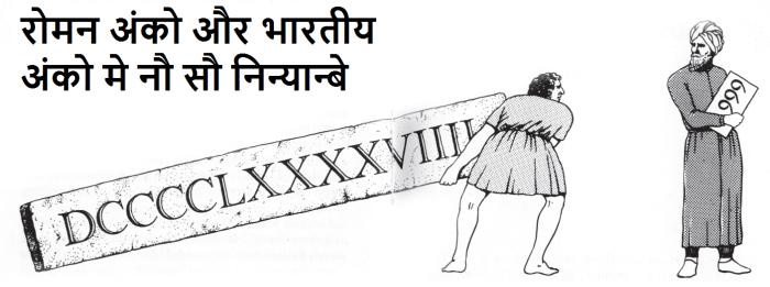 नौ सौ निन्यान्बे : रोमन और भारतीय अंको मे