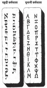 यहूदी वर्णमाला तथा यूनानी वर्णमाला