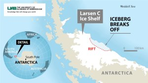 लार्सन-C बर्फ शेल्फ का टूटना(Larsen C ice shelf break)