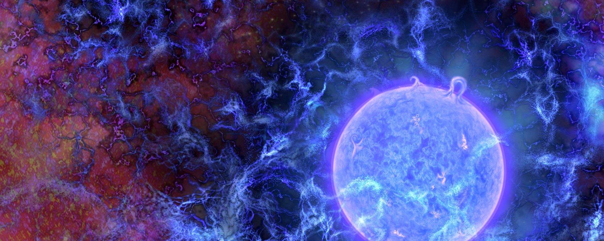 प्रस्तावित ब्रह्माण्ड का सबसे पहला निर्मित तारा, विशाल आकार के साथ नीले रंग में दिखाया गया है। यह तारा पूरी तरह से गैसीय तंतुओं से निर्मित हुआ है इसके पृष्टभूमि पर खगोलीय माइक्रोवेव(cosmic microwave background: CMB) को देखा जा सकता है। यह छवि रेडियो अवलोकनों पर आधारित है क्योंकि हम शुरुआती तारों को सीधे तौर पर नही देख सकते। शोधकर्ताओं के अनुसार खगोलीय माइक्रोवेव पृष्टभूमि की मंदता से तारे की उपस्थिति का अनुमान लगाने में मदद मिलती है क्योंकि खगोलीय माइक्रोवेव सितारों से निकले परावैगनी प्रकाश को अवशोषित कर लेते है। छवि में जहां पर खगोलीय माइक्रोवेव पृष्टभूमि कम है यह दर्शाता है वहां गैसीय तंतु अपेक्षा से कही अधिक ठंडे हो सकते है संभव है वे डार्क मैटर के साथ परस्पर प्रतिक्रिया कर रहे हो। Credit: N.R.Fuller, National Science Foundation.