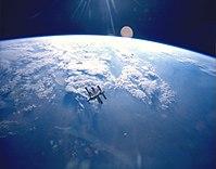 जुन 1995 पृथ्वी और मीर, तारे दिखाई नही दे रहे है।