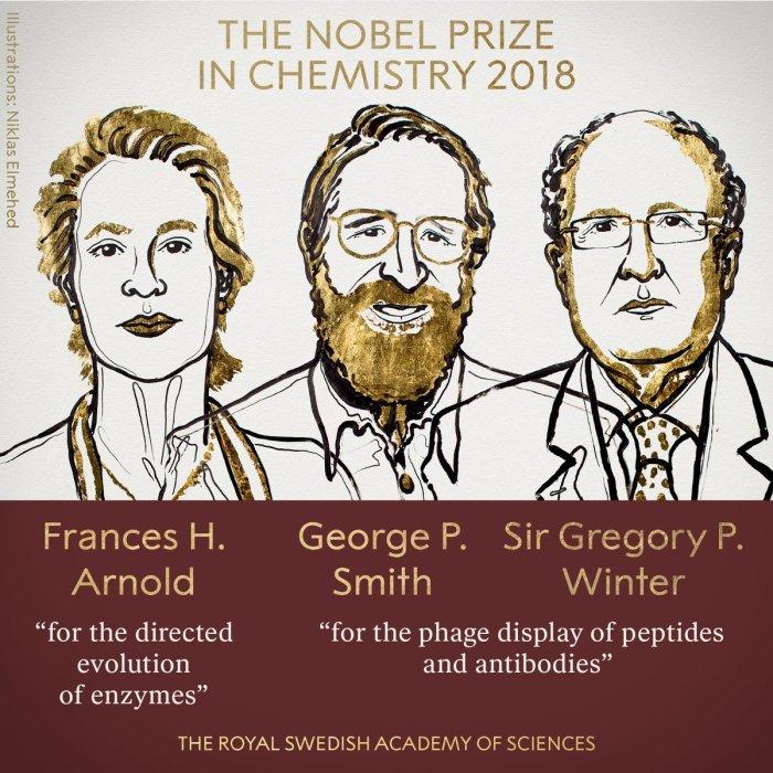 फ्रांसेस अर्नोल्ड (Frances H Arnold), जार्ज स्मिथ (George P Smith) और ब्रिटिश अनुसंधानकर्ता ग्रेगरी विंटर (Gregory P Winter)