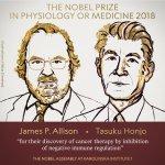2018 चिकित्सा नोबेल कैंसर थेरपी विकसित करनेवाले जेम्स पी एलिसन(James P. Allison) और तासुकू होंजो (Tasuku Honjo) को
