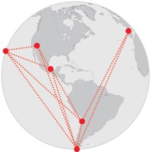 इवेंट होरीजान टेलिस्कोप एक अकेली दूरबीन नही है, यह आठ रेडीयो दूरबीनो का नेटवर्क है जोकि हवाई, अरिजोना, स्पेन, मेक्सीको, चीली और अंटार्कटीका मे स्तिथ है।