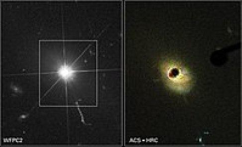 क्वासर 3C 273 की हब्बल दूरबीन द्वारा लिया चित्र। दायें वाले चित्र मे क्रोनोग्राफ़ के प्रयोग से क्वासर के चारो ओर के प्रकाश को दबाया गया है जिससे इसकी मातृ आकाशगंगा को देखा जा सके।(Hubble's image of Quasar 3C 273. At right, a coronagraph has been used to block the Quasar's surrounding light to easily detect the host galaxy.)