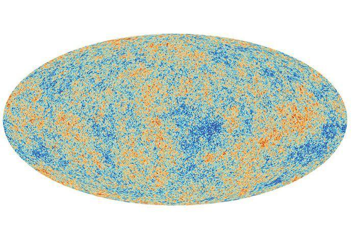 यूरोपियन अंतरिक्ष संस्थान के प्लैंक उपग्रह द्वारा 2013 मे खगोलीय पृष्ठभूमी विकिरण का लिया चित्र, इस चित्र मे सूक्ष्म विचलन या अस्थिरता स्पष्ट है। An image of the cosmic microwave background radiation, taken by the European Space Agency (ESA)'s Planck satellite in 2013, shows the small variations across the sky.